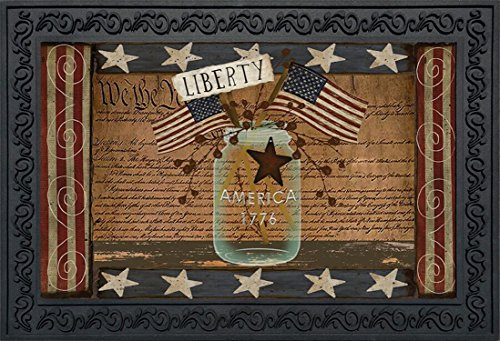 Liberty Primitive Doormat Indoor Outdoor Patriotic Holiday Mason Jar 18