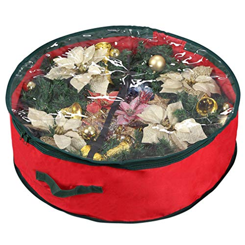 Primode Wreath Storage Bag with Clear Window | Garland or Xmas Wreath Container for Easy Storage Durable 600D Oxford Material (36