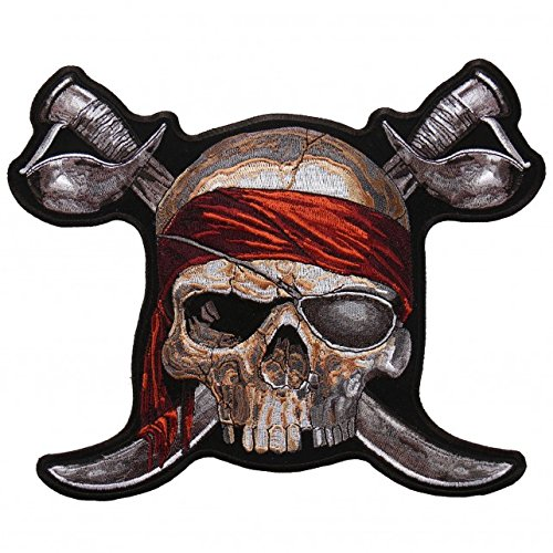 Embroidered Pirate - PIRATE SKULL 2, High Thread Embroidered Iron-On / Saw-On, Heat Sealed Backing Rayon PATCH - 4