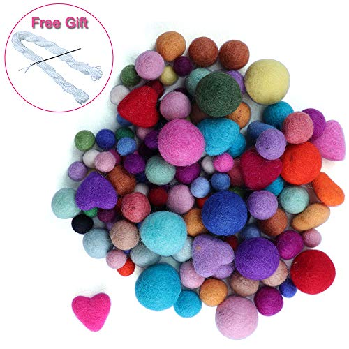 120 Pcs Multisize Wool Felt Balls for Christmas Decor Large Felt Ball DIY Mixed Color Wool Pom Poms Wool Beads for Crafts -