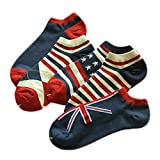 5 Pairs Of Mounted Men Cotton Socks Absorb Sweat low-waist cotton Flag