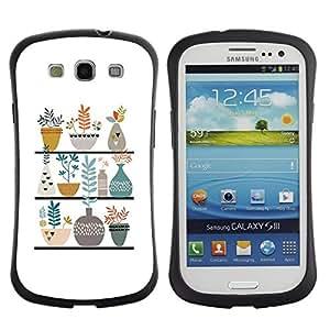 "Hypernova Slim Fit Dual Barniz Protector Caso Case Funda Para SAMSUNG Galaxy S3 III / i9300 / i747 [Ollas Flores blanca minimalista Dibujo""]"