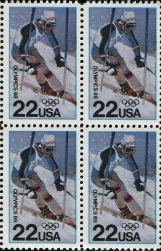 1988 WINTER OLYMPICS ~ CALGARY ALBERTA CANADA ~ ALPINE SKIING #2369 Block of 4 x 22 US Postage Stamps