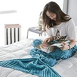 Dream's Story Knitted Mermaid tail Blanket Fall Winter for Adult Knit Crochet Warm Sleeping Bag blanket, 76.78-81'' * 35.4'' (blue)