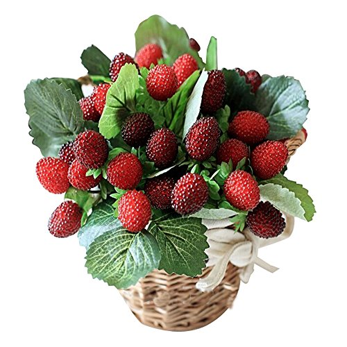 - JAROWN Artificial Mulberry Fruits Silk Strawberry Leaves Bouquet for Kitchen Blacony Decor Pack of 3(Red)
