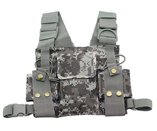 GoodQbuy Universal radio harness chest Rig Bag Pocket Pack Holster Vest for Two Way Radio Walkie Talkie (Rescue (Rig Shoulder Holster)