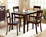 Target Marketing Systems Ian Collection 5 Piece Indoor Kitchen Dining Set with 1 Dining Table, 4 Chairs, Espresso