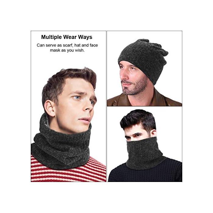 51mRLzdeg2L Thickkened Knitting- el rendimiento ultra suave, cómodo y exquisito te sorprenderá. Y no producirá pilling ni se soltará después de su uso. Keep You Warm- El fino forro de felpa es útil para mantener el calor en el cuello, la cara, las orejas y la cabeza en días fríos. fibras acrílicas y felpa