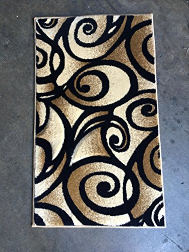 Modern Door Mat Area Rug Navy Blue Swirl Contempo Design #341 (2 feet X 3 feet 4 inches) (Contempo Machine Rug Made)