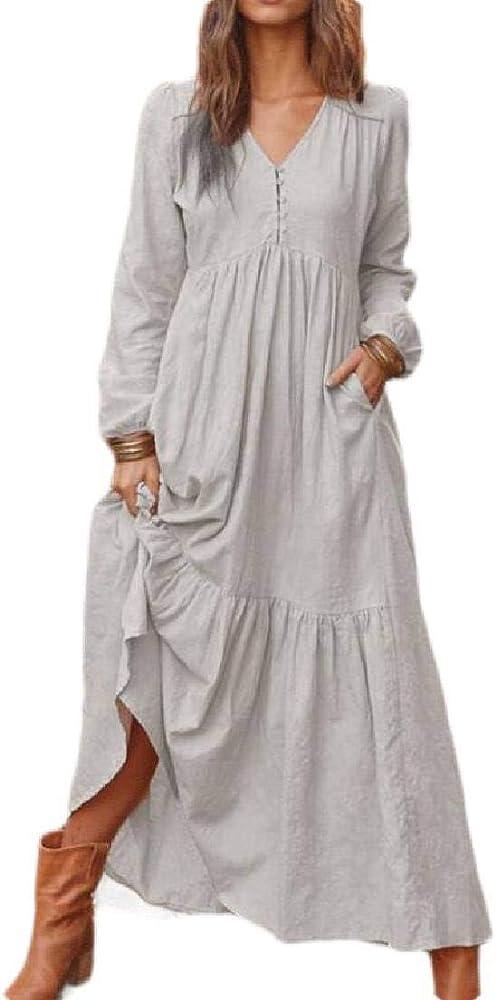 pipigo Maxi Vestido Largo de Lino y algodón, Manga Larga, con Bolsillos, para Mujer - Gris - X-Small: Amazon.es: Ropa y accesorios