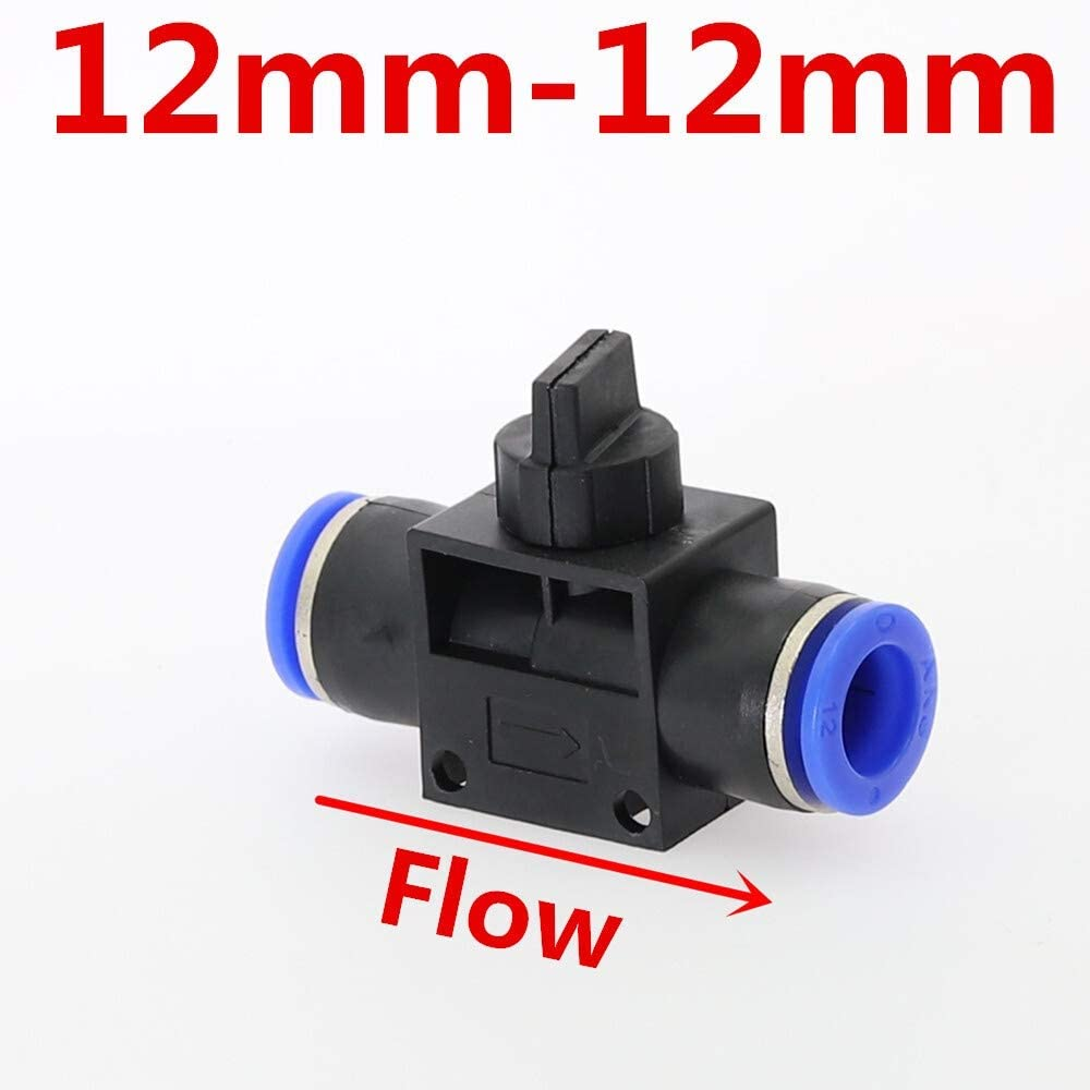 Wang shufang WSF-Adapters 1pc Air Pneumatic Hand Valve 2 Way Quick Fittings Push Connector Tube Hose Plastic 4mm 6mm 8mm 10mm 12mm Flow Limiting Speed Control Size : HVFF12