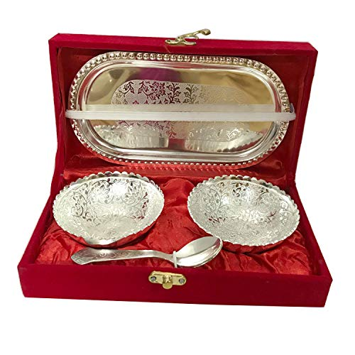 Handmade Designer 2 Bowls 2 Spoons 1 Tray with Comes with Gift Pack use for Dry Fruits, Gifting Purposes on Wedding Aniversary Diwali Navratri Occasion,Valentine Day Gifts