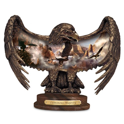 Ted Blaylock Illuminated Eagle Art Bronze Toned Sculpture: Luminous Majesty - By The Bradford Exchange