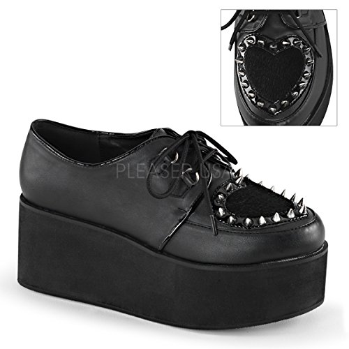 Demonia Womens Grip-02 Platform Heart Cutout Shoe Zwart Zwart Vegan Pony
