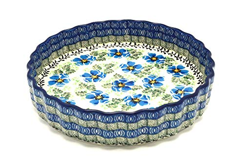 Polish Pottery Baker - Fluted Quiche - Small (7'') - Morning Glory by Polish Pottery Gallery (Image #1)