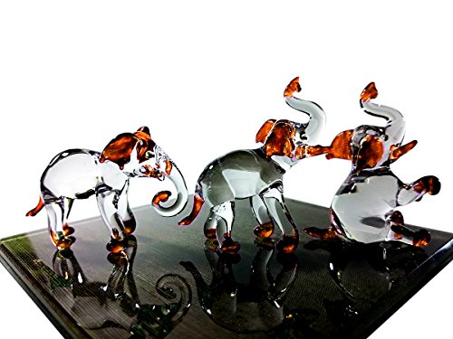 Sansukjai Set 3 Elephant Figurines Animals Hand Painted Orange Hand Blown Glass Art Collectible Gift Decorate - Lucky Elephant Art Glass Figurine
