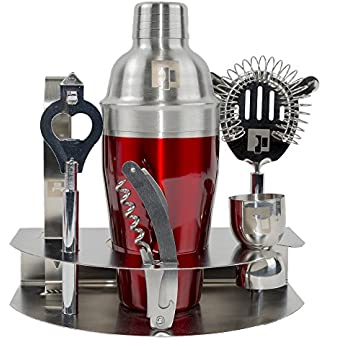 Professional Cocktail Shaker Home Bar Tools Set-7 pc include Barware Drink Shaker, Jigger, Strainer, Tongs, Corkscrew, Bottle Opener and a Bonus Cocktail Recipe Book by Eximius Power