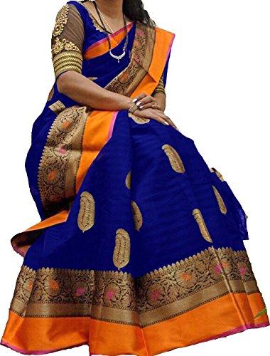 MANTRA Women's Cotton Silk Saree with Blouse Piece (Multicolour, Free Size)
