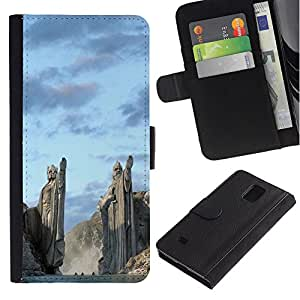 Ihec-Tech / Flip PU Cuero Cover Case para Samsung Galaxy Note 4 SM-N910 - Architecture Ancient Nord Viking Gods Fjords
