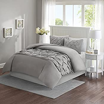 Comfort Spaces – Cavoy Duvet Cover Mini Set - 3 Piece – Grey – Tufted Pattern With Corner Ties – Full/Queen size, includes 1 Duvet Cover, 2 Shams