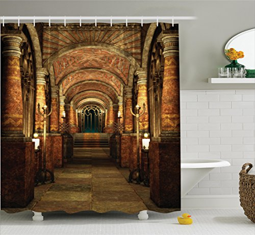 Ambesonne Gothic House Decor Shower Curtain Set, Ancient Passage With Stairways Secret Gateway Mystical Pillars Medieval Temple Theme, Bathroom Accessories, 69WX70L Inches, Cocoa Light Brown