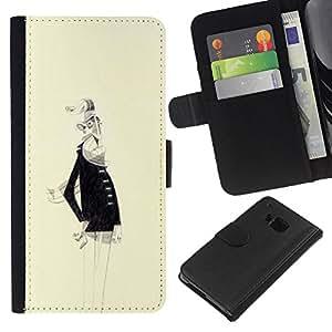 iBinBang / Flip Funda de Cuero Case Cover - Anciano Barba Blanca Dibujo del arte del retrato - HTC One M9