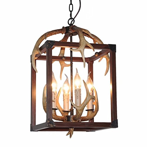 """EFFORTINC Resin Antler Chandeliers 4 Light 14.1"""" Diameter X 17.7"""" Tall with 4 Feet Matching Chain(Bulbs Not Included)"""