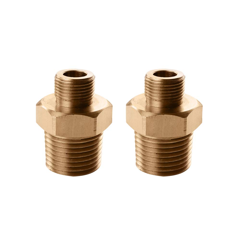 Solid Brass FChome Faucet Supply Line Adapter 1//2 NPT Male to 9//16-24 UNEF Female Converter 2 Pcs