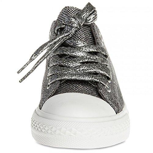 dunkel silber SSN002 Damen Sneakers Metallic CASPAR RvpqIO