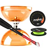 Orange Cyclone Quartz 2 Diabolo w/ Carbon Fibre Diablo Sticks & Accelerate Diabolo String Set