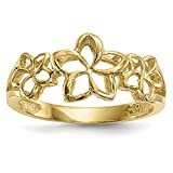 ICE CARATS 14k Yellow Gold 3 Plumerias Band Ring Size 7.00 Flowers/leaf Fine Jewelry Gift Set For Women Heart