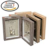 CECII Wood Picture Frame, Hinged Double Picture Frame, Double 4 by 6 inch (Random Selected Color) Picture
