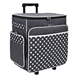 Grey Polka Dot Rolling Scrapbook Storage Tote - Scrapbooking Storage Case for Rings, Paper, Binder, Crafts, Beads, Paper, Scissors - Telescoping Handle with Dual Wheels - Craft Case for Travel