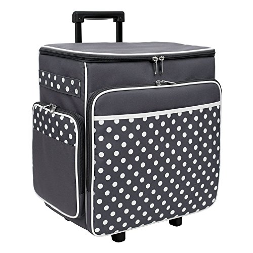 Grey Polka Dot Rolling Scrapbook Storage Tote - Scrapbooking Storage Case for Rings, Paper, Binder, Crafts, Beads, Paper, Scissors - Telescoping Handle with Dual wheels - Craft Case for Travel by Everything Mary