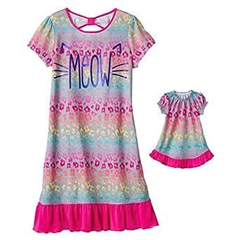 Bow-Back Nightgown & Matching Doll Dress Set - Girls (XXS-4, MEOW)