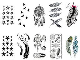 [20 PACK]Temporary Tattoo - High Gloss Shimmer Effect For Face, Waist, & Leg Tattoos Halloween Costume / Cosplay