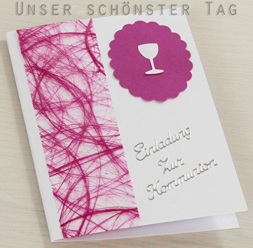10 x Einladung Einladungskarte Kommunion Einladungen pink KK018
