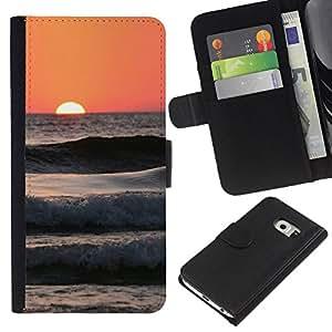 Planetar® Modelo colorido cuero carpeta tirón caso cubierta piel Holster Funda protección Para Samsung Galaxy S6 / SM-G920 EDGE ( Peach Beach Surf Sun Summer Waves )