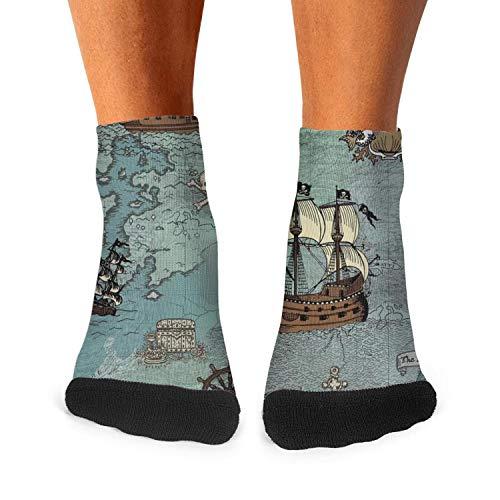 Short Navy Anchor Sailor (Anchor Sailor Nautical Pirate Map Men Short Socks Ultra Soft Novelty Socks)