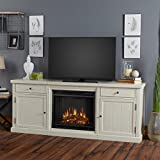 Real Flame 2720E-DSW 2720E Cassidy Entertainment Unit with Electric Fireplace, Distressed White, Large