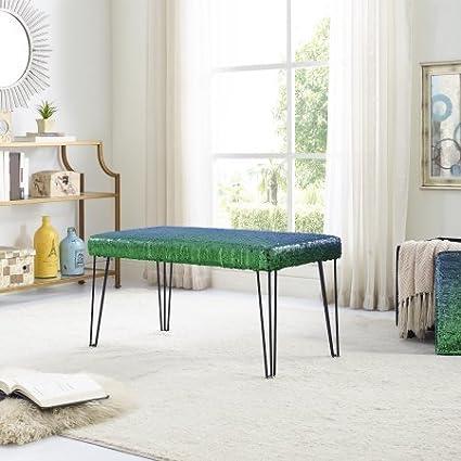 Astounding Amazon Com Reversible Color Changing Sequin Bench Blue Machost Co Dining Chair Design Ideas Machostcouk