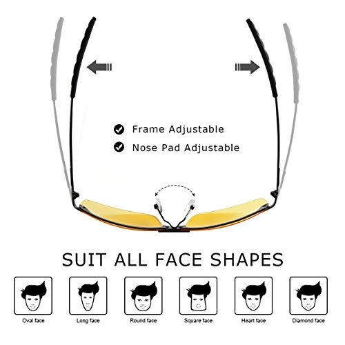 ae54098f2fa COOXER Night Driving Glasses Anti-glare Polarized - HD Vision Sports Style Yellow  Tint Polycarbonate Lens