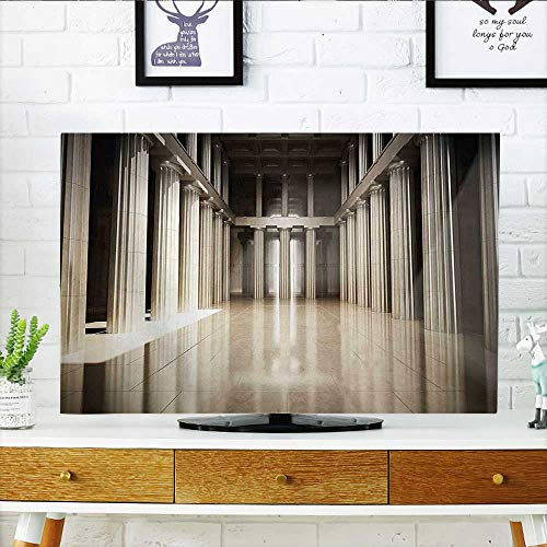 Jiahonghome Cord Cover for Wall Mounted tv 3D Model Style Column Interior Empty Room Digital Image Decorative Design Beige and Cover Mounted tv W36 x H60 INCH/TV 65