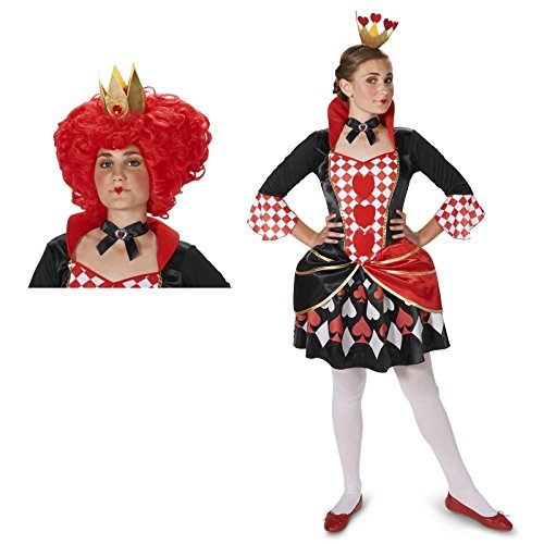 [Queen of Hearts Adult Medium Costume with Wig Bundle Set] (Red Queen Of Hearts Costumes Wig)