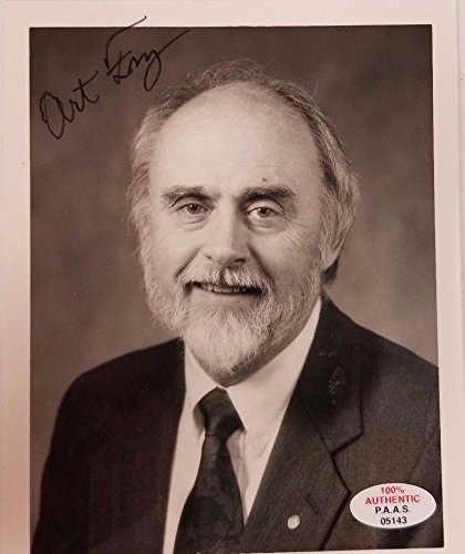 Post-It Inventor Art Fry Hand Signed 4x5 Picture P.A.A.S. Authentication Sticker from Unknown
