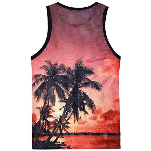 Mode Aimee7 Manche shirts Rouge2 Crazy Hommes Imprimés Shirt Gilet Plage Vêtements Lâche À Haut Hawaïen Tee Mince Sport Hommes Été Décontracté Top Sales De 2018 Débardeur T Sans vxArzvqY
