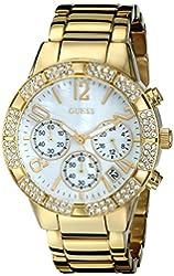 GUESS Women's U0141L2 Sporty Gold-Tone Crystal Chronograph Watch