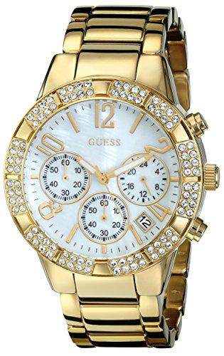 - GUESS Women's U0141L2 Sporty Gold-Tone Crystal Chronograph Watch