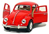 Red 1967 Classic Die Cast Volkwagen Beetle Toy with Pull Back Action