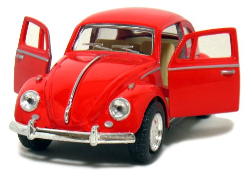 Beetle Classic (Red 1967 Classic Die Cast Volkwagen Beetle Toy with Pull Back Action)